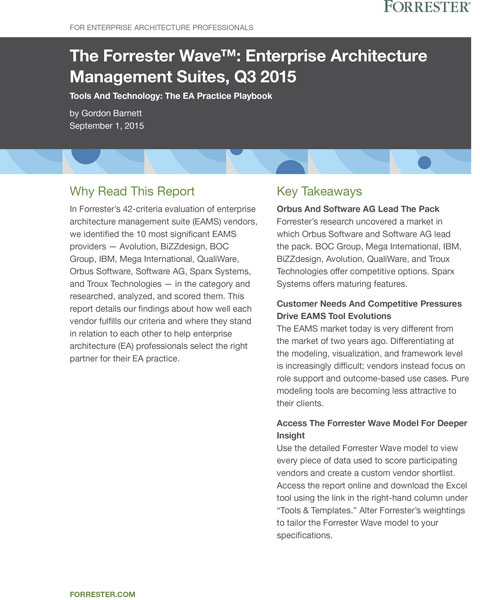 The Forrester Wave™: Enterprise Architecture Management Suites, Q3 2015