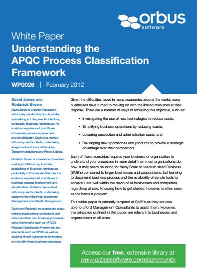Understanding the APQC Process Classification Framework