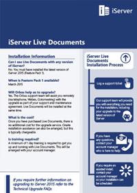 iServer 2015 Live Documents Installation FAQ