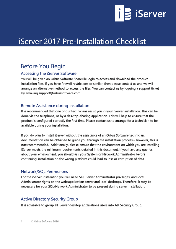 iServer 2017 Pre-Installation Checklist