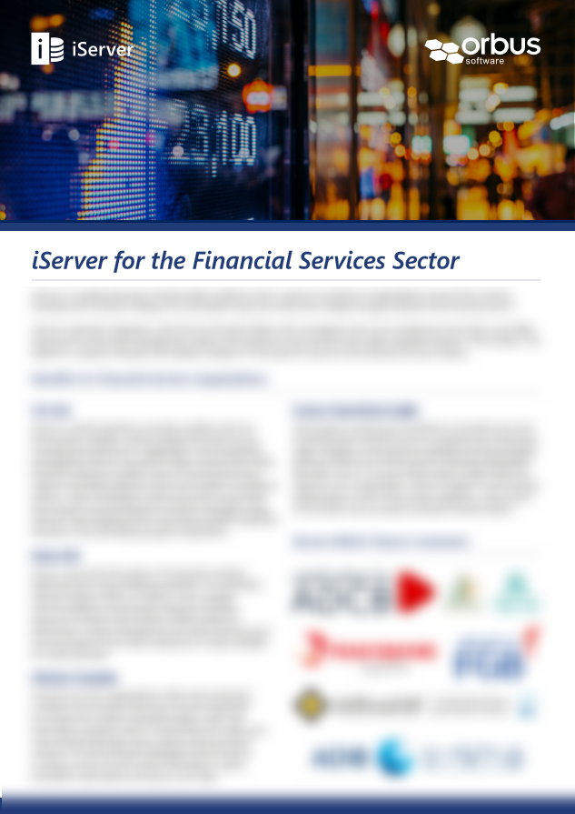 iServer for the Financial Services Sector MENA Flyer