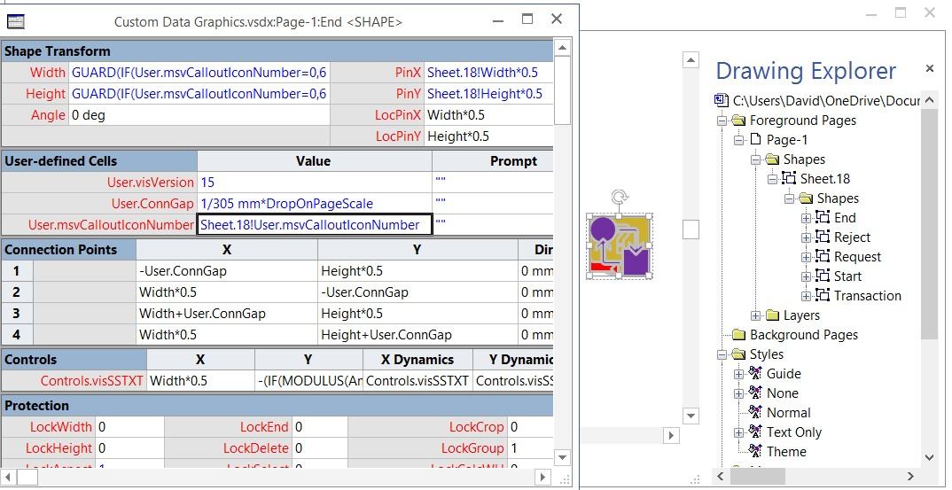 custom visio data graphics - Shape Data Visio