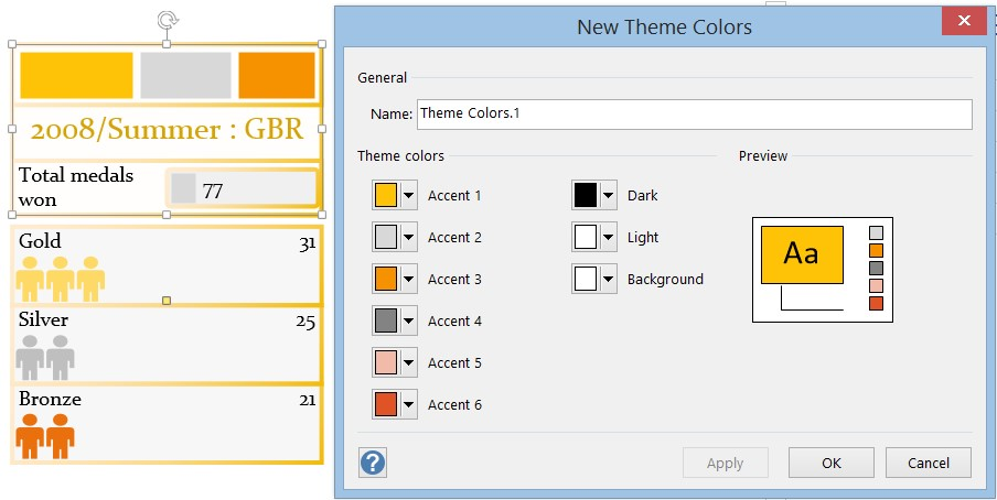 Choosing new theme colors