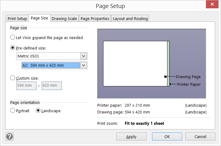 Page Setup Size Printing In Visio