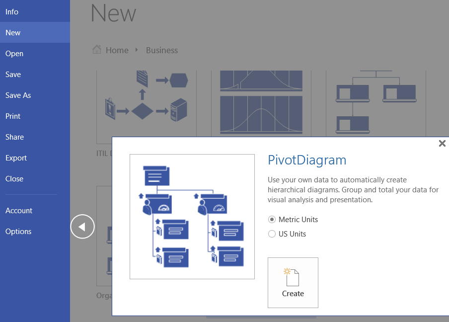 pivot diagrams in Visio