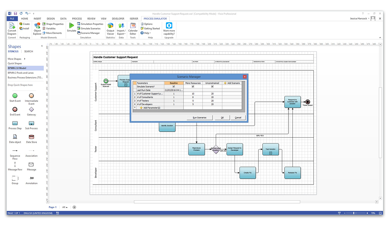 Create Visio Process Model Simulations