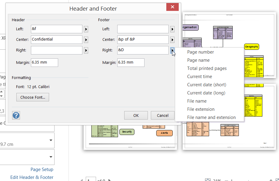 Header And Footer When Printing In Visio